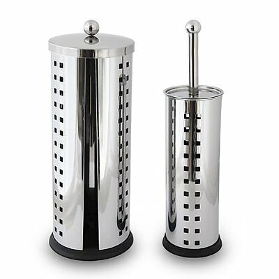 NEW Stainless Steel Set Of 2 Toilet Brush And Paper Roll Holder Bathroom Style