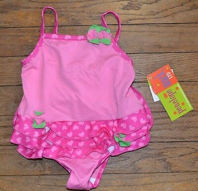 Penelope Mack, LTD Pink Bathing Suit with Flower Accent & Ruffles Size 24 Months