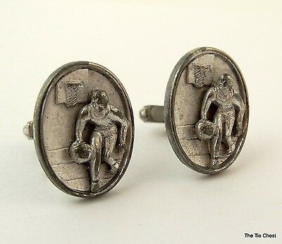 BASKETBALL PLAYER Cufflinks Vintage 1950s Anson Oval Large Silver Tone