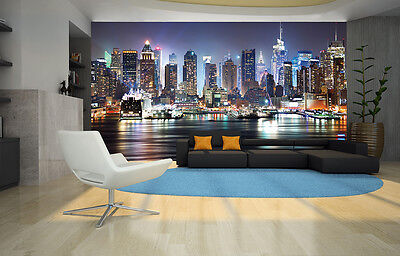 NEW YORK CITY NIGHT SKYLINE  MANHATTAN VIEW Photo Wallpaper Wall Mural 335x236cm