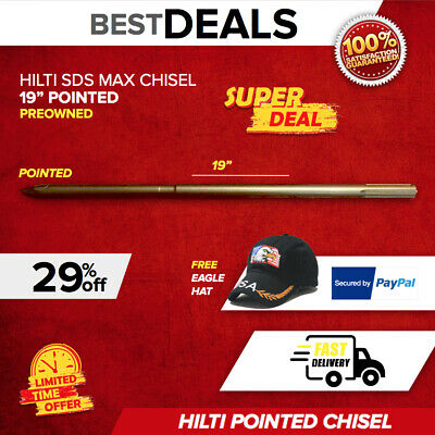 "Hilti Chisel Pointed Sds Max 19"", Preowned, Germany Made, Free Hat, Fast Ship"