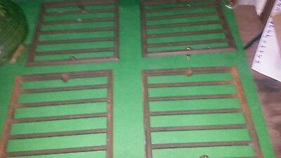 4 small CAST IRON ANTIQUE FLOOR GRATES. 8 IN X 8 IN