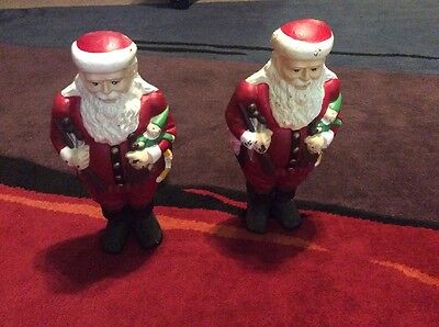 Santa Claus Cast Iron Andirons Christmas Set Firedogs Fireplace Yule Log Holders