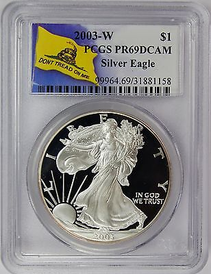 2003-S PCGS PR69DCAM Silver Eagle Dollar Dont Tread On Me Label