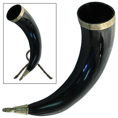 Brass Adorned Medieval Renaissance Drinking Horn with Metal Stand