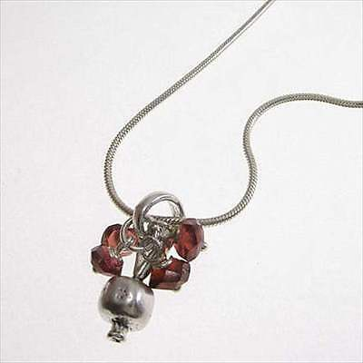 Tiny Pomegranate Necklace Sterling Silver Garnet Beads by Michael Bromberg