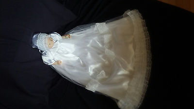 Baby Girl Satin Tulle & Lace Christening Gown Baptism Dress 0-3 3-6 6-12 M