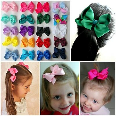 2 BOW SCHOOL COLOUR HAIR ACCESSORY CLIPS CLIP RIBBON BOWS PAIR 8x6cm PAIR