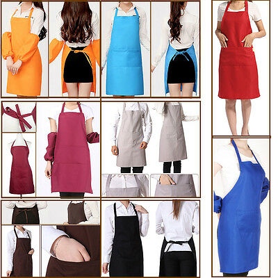 Plain Apron With Front Pocket For Chefs Kitchen Cooking Craft Baking Hotel Bar