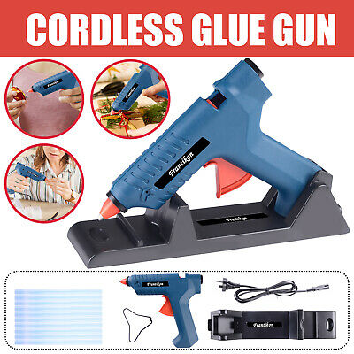 15-80W Cordless Hot Melt Glue Gun Electric Heating Craft w/ Stand+10 Glue Sticks
