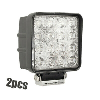 2X48W Square LED Work Light Flood 12V Lamp Offroad Truck Tractor Boat Excavator