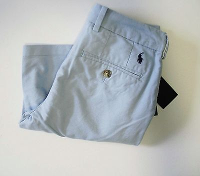 Ralph Lauren Boys Solid Oxford Shorts Hampton Blue Sz 8 - NWT