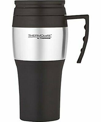 NEW THERMOS THERMOCAFE 400ml TRAVEL MUG Insulated Cup Coffee Tea BLACK + SILVER