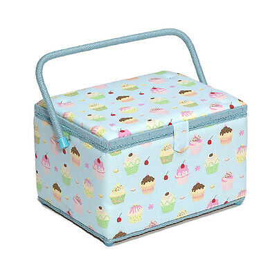 NEW | Hobby Gift MRL/18 | Cupcakes On Blue Large Sewing Basket | FREE SHIPPING