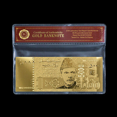 WR Pakistan 5000 Rupees Gold Banknote for Sale Art and Collectables /w FREE COA
