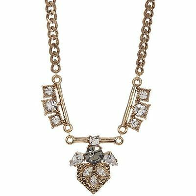 New Genuine Prudence C Antique Gold-Tone And Crystal Necklace Msrp $80.00