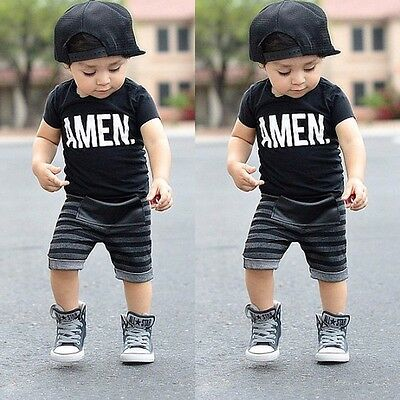 Amen Print Toddler Baby Boy t-Shirt & Striped Shorts Sets Kids Outfits Clothes