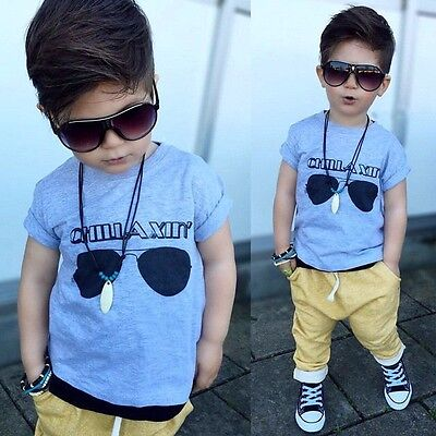 Fashion Toddler Kids Baby Boy Clothes T-shirt Top+Long Pant Outfit Set Size 2-6