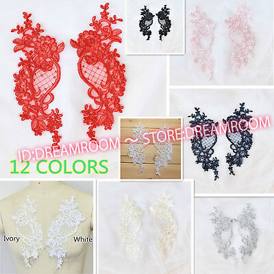Flower Motif Fabric Embroidered Lace Trim Sewing Applique Dress Decor BF183 2PC
