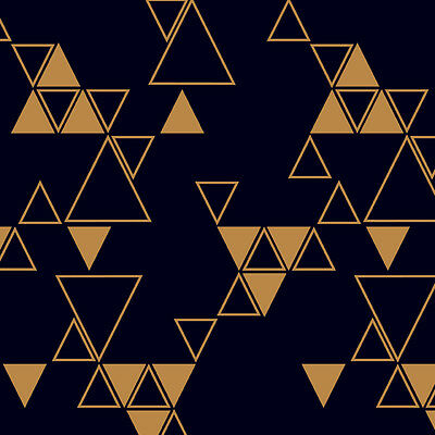 Black with Copper Triangles, Wrapping Paper, Counter roll, gift wrap,500mm x 50m