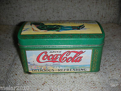 Vintage COCA-COLA Delicious and Refreshing  Metal Tin Can Container Vintage