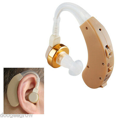 NEW Behind Ear Amplifier in Sound Voice Hearing Aid Batteries Adjustable Volume
