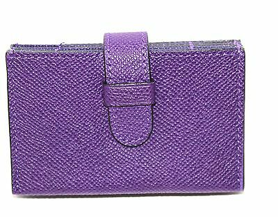 New Coach Accordion Business Card Case In Embossed  Leather Violet 52373