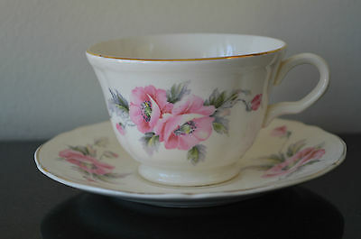 Edwin Knowles Usa Semi Vitreous Vintage Pink Floral Cup & Saucer #v