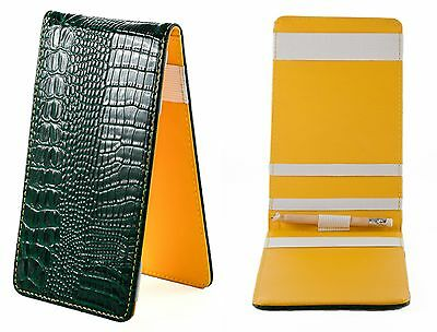 SS Tour Golf | Lizard Scorecard & Yardage Book Holder Green/Yellow Leather New