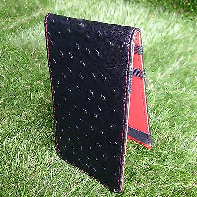 SS Tour | Ostrich Leather Golf Scorecard & Yardage Book Holder Black/Red New