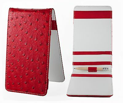 SS Tour | Ostrich Leather Golf Scorecard & Yardage Book Holder Red/White New