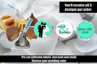 Wedding Hershey Kisses Nugget Labels Party Label Favors - Choose Your Color