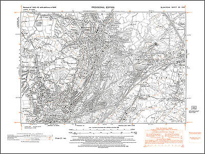 Swansea north, old map Glamorgan 1948: 15SW repro Wales