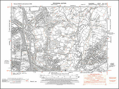 Cardiff northeast, old map Glamorgan 1948: 43NE repro Wales