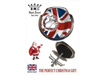 Royale Classic Car Grill Badge + Fittings UNION JACK BRITISH BULL DOG - B2.0943