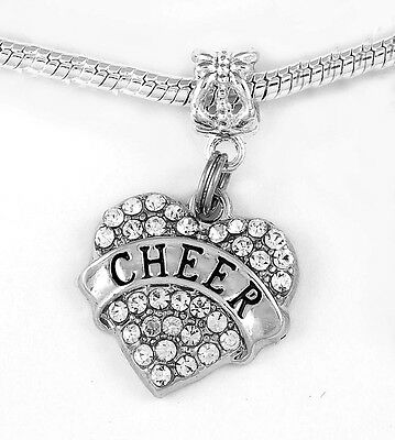 Cheer charm Cheerleader cheering (charm only) best jewelry gift Crystal heart