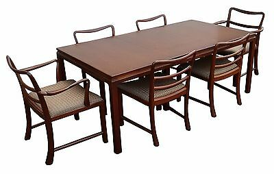 Mid Century Modern Brown Mahogany Dunbar Extendable Dining Table and 6 Chairs