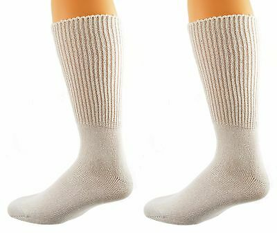 Sierra Socks Health Diabetic Wide Calf Cotton Crew Men's 2 Pair Pack M6500