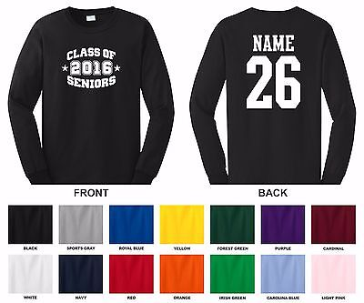 Class of 2016, 17, 18, 19 Seniors Choose Year, Name & Number Long Sleeve T-shirt