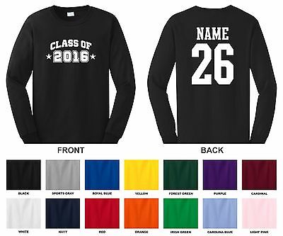 Class of 2016, 17, 18, 19, 20 Choose Year Arch, Name Number Long Sleeve T-shirt