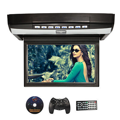 "15.6"" HD Digital TFT Car Flip Down Overhead Roof Mount Monitor Video Player HDMI"