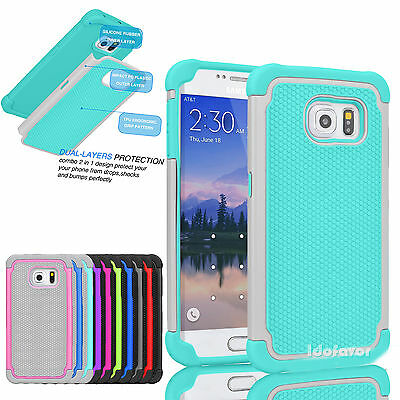 For Samsung Galaxy S6 / S6 Edge Shockproof Hybrid Rugged Rubber Hard Case Cover