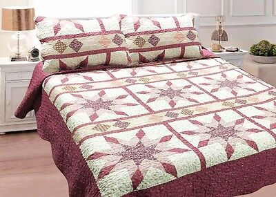 3pc set Queen/King Cotton Patchwork Coverlet Quilted Throw Bedspread Clearance