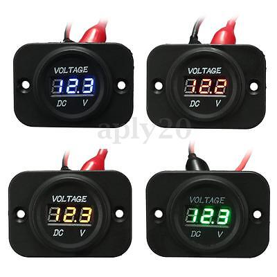 12V-24V Waterproof Car Motorcycle LED Digital Display Voltmeter Voltage Meter US