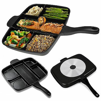 5 In 1 Multi-Section Frying Pan Aluminium Master Grill Non-Stick Coating Cast
