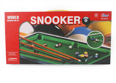 TABLE TOP MINI SNOOKER POOL PLAY SET TOY DESKTOP WITH CUES BALLS TRIANGLE 37 cm