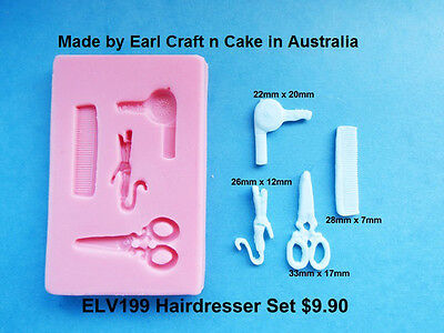 Hairdresser Silicone Mould  Cake Decorating Gum Paste Sugar Cupcake Topper