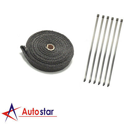 2000F Black Exhaust Heat Wrap 25Mm X 4.5M + 6 Stainless Steel Ties