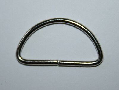 25mm Thin Nickel / Metal D Rings PK6 (silver)- NEW