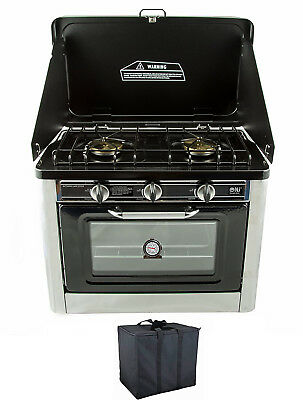 NJ CO-01 Camping Gas Oven Portable Stainless Steel Outdoor Caravan 2 Burners Hob